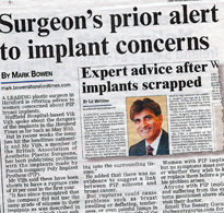 "Hereford Times Article: ""Surgeon's prior alert to implant concerns"""